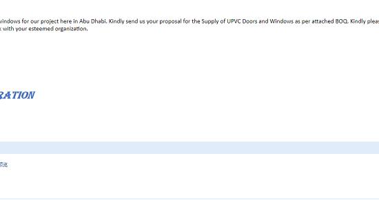 迪拜客户询盘BOQ for UPVC Doors and Windows